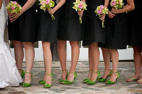 Black Bridesmaids Dresses Green Shoes   Elizabeth Anne