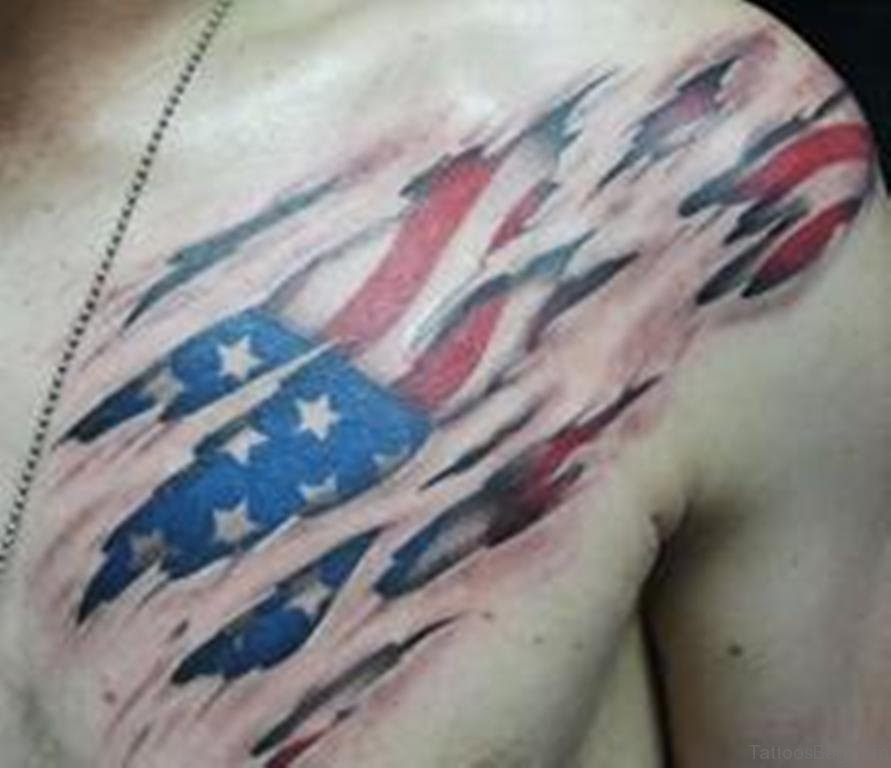 57 Classic Flag Tattoos On Chest