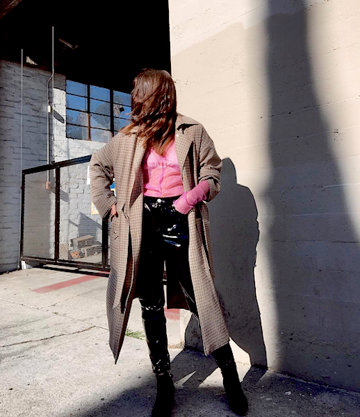 Le Fashion Blog Houndstooth Coat Pink Blouse Patent Leather Pants Ankle Boots Via @ Life Of Boheme