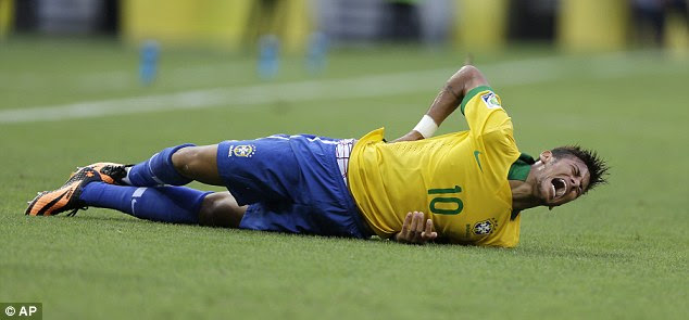 In agony: Neymar was trying to have more of an influence in the game, but sometimes to his peril