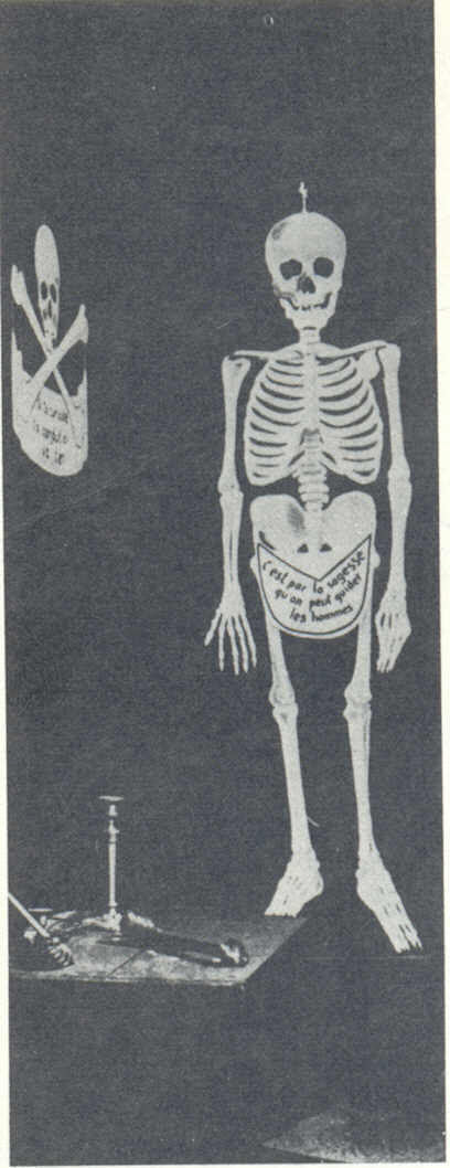 The 'meditation room' where a candidate for freemasonry is left alone before being conducted to the 'Lodge' in order to be initiated into the first degree. Just before he 'recieves the light' the candidate, who is regarded of being still 'profane' must draw up his philosophical and moral testament - language on the skeleton's apron is French