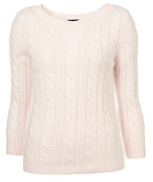 topshop pale pink knitted cable jumper 44.00