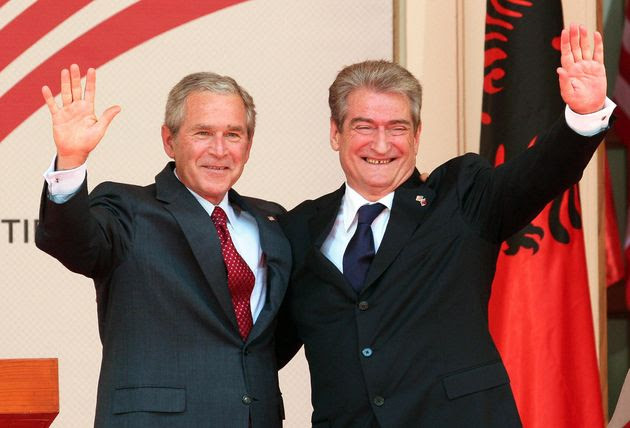 Former U.S. President George W. Bush with Albanian Prime Minister Sali Berisha on June 10, 2007, in the courtyard of the Council of Ministers in Tirana, Albania.