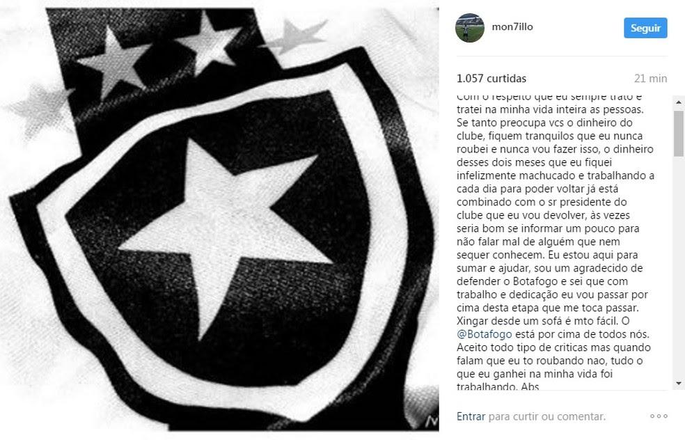 Montillo postou desabafo ao lado de uma imagem com o escudo do Botafogo (Foto: Reprodução)
