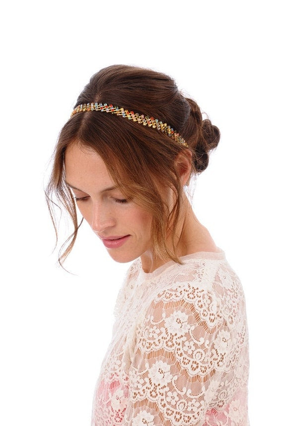 Multi Color Rhinestone Headband