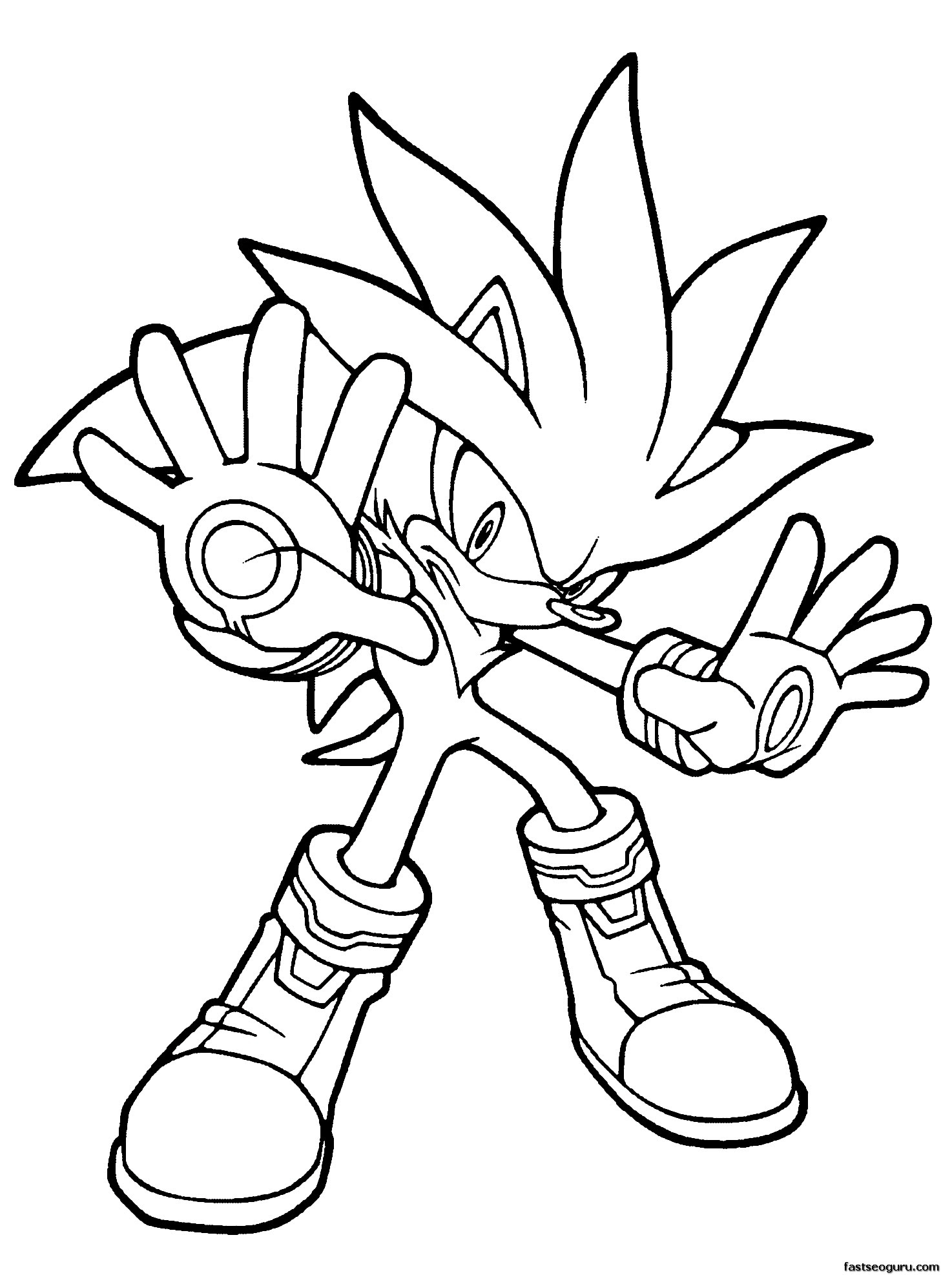 Printable Sonic the Hedgehog Silver Coloring in sheets ...