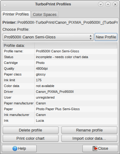 printer profile