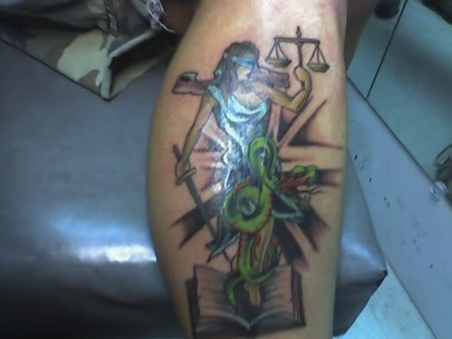 Colored Snake And Lady Justice Tattoo