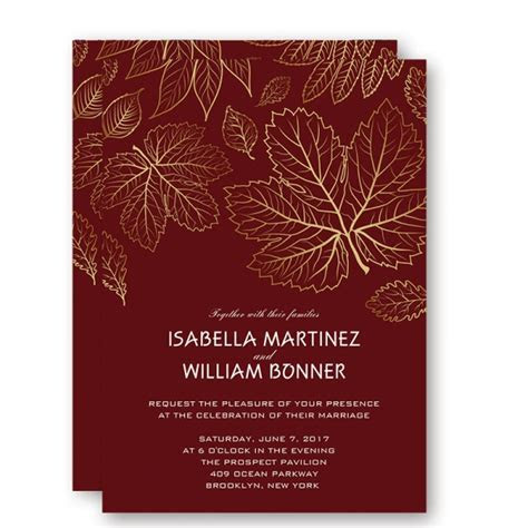 Christmas Cheap Gold Foil Leaves Fall Wedding Invitations