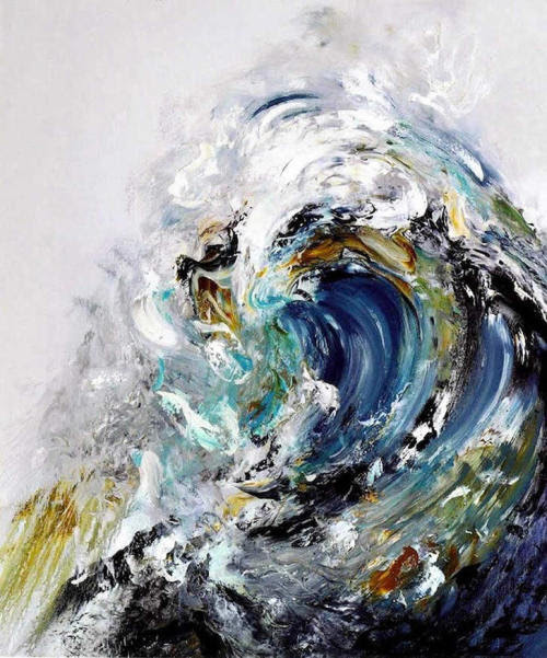 Maggi Hambling - Summer Wave Tunnel. Oil on canvas, 170.2x37.1cm (2010) [found at pulmonaire]