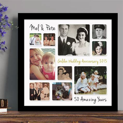personalised golden wedding anniversary photo collage by