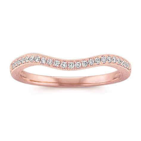 Vintage Diamond Contour Wedding Band in Rose Gold   Shane Co.