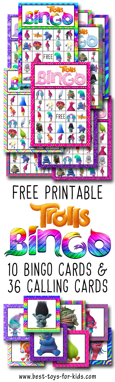 Trolls Free Printable Bingo Cards - Trolls Birthday Party Game ...