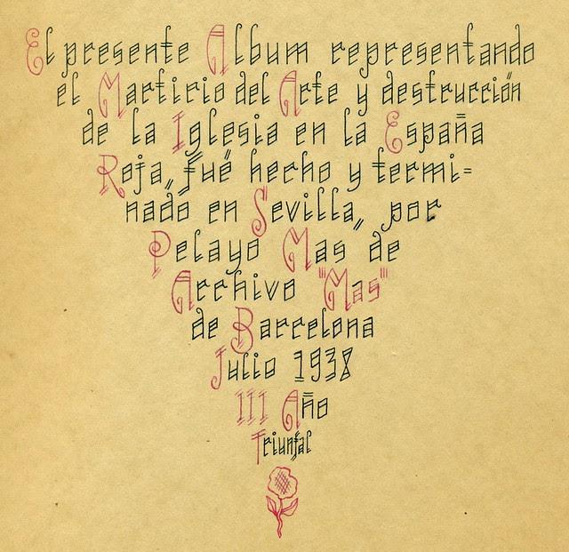 Texto final del Álbum de Pelayo Mas titulado Martirio del arte y destrucción de la Iglesia en la España Roja. Causa de los mártires de la persecución religiosa en Toledo