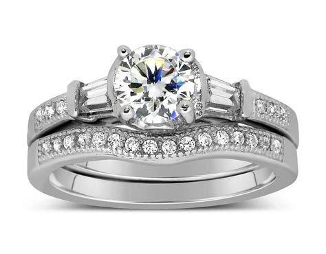 Antique 1 Carat Round Diamond Wedding Ring Set for Her in