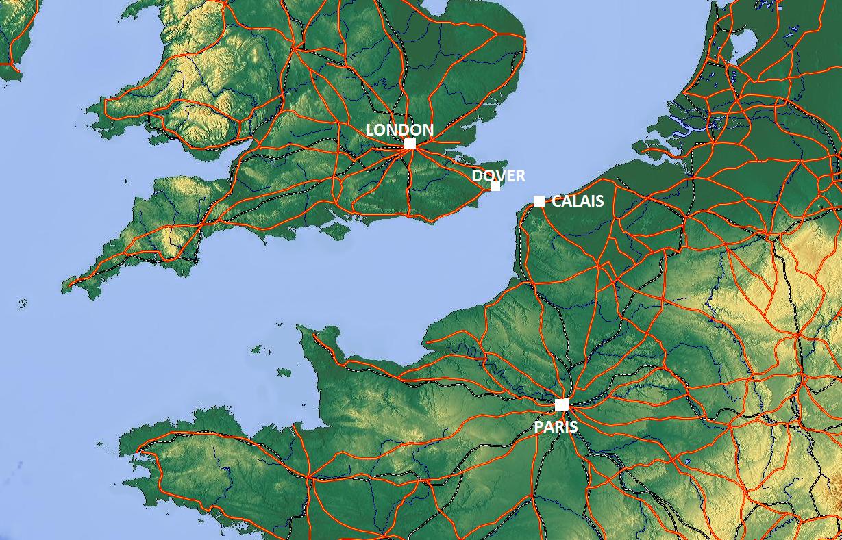 Paris, London, Calais, and Dover