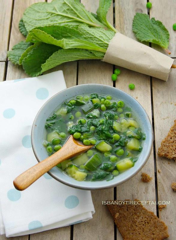 Pavasarinių daržovių sriuba su agurklėmis