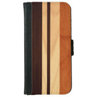 Elegant Wood Stripes Wood Grain Look iPhone 6 Wallet Case