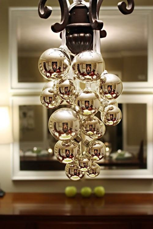 Simple bulbs and ribbon on a chandelier via momsbyheart