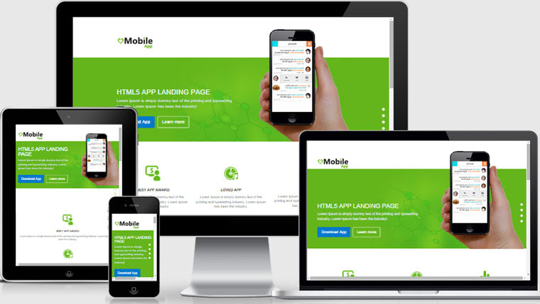mobile App landing page html5 web template