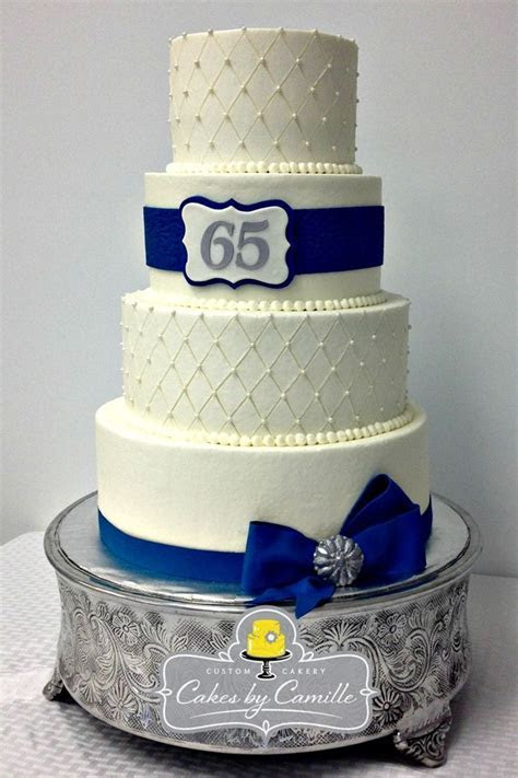 65th Anniversary Cake, wedding anniversary cake navy blue