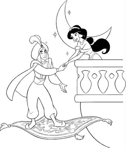 Disegno Di Il Principe Ali Incontra Jasmine Di Notte Da Colorare