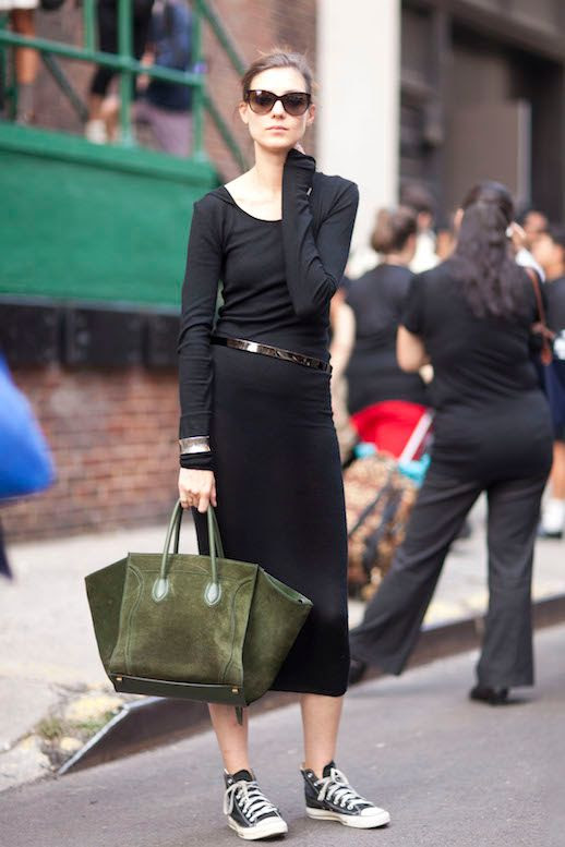 Le Fashion Blog Ways To Wear Converse Chuck Taylor High Top Sneakers Black Midi Dress Celine Bag Model Style Katie Nescher