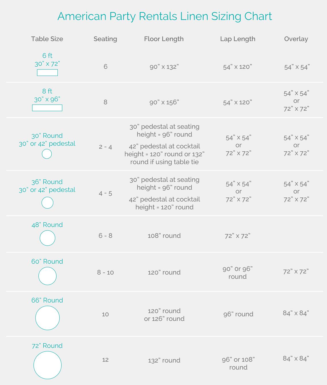 Linen Size Chart Hobitfullringco