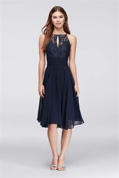 Lace Appliqued Illusion Short Bridesmaid Dress   Navy