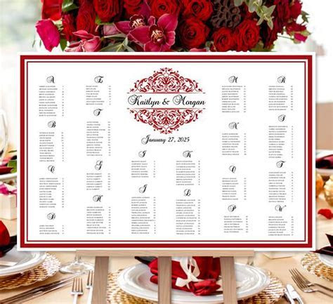 Wedding Seating Chart Poster Grace Red Black Print Ready