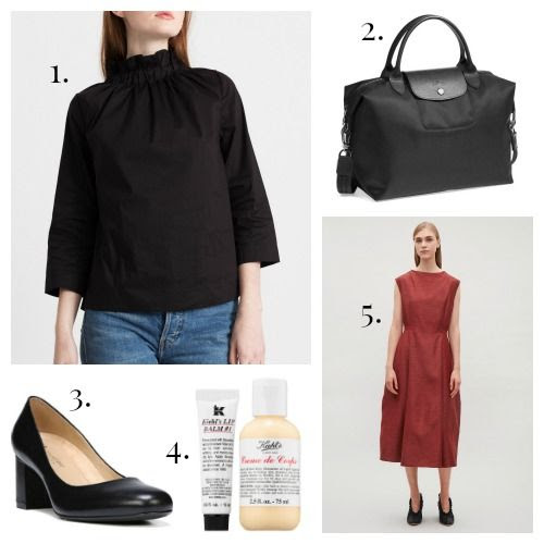 Modern Citizen Blouse - Longchamp Tote - Naturalizer Pumps - Kiehl's Skincare - COS Dress