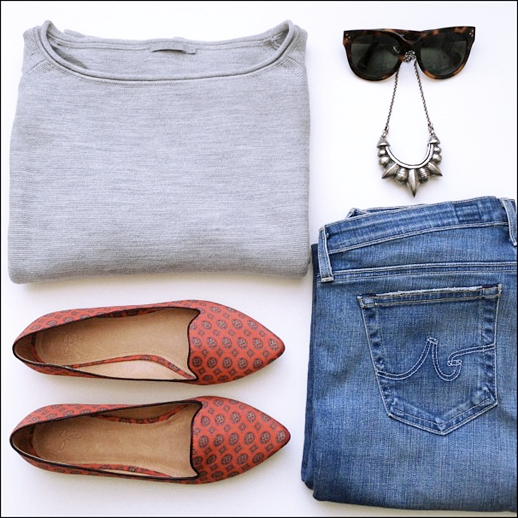 LE FASHION BLOG INSTAGRAM OUTFIT GRAY COS SWEATER CELINE SUNGLASSES PLAEMA LOVE TRIBAL SPIKE NECKLACE JOIE PRINT DAY DREAMING FLATS AG JEANS DAILY OUTFITS 5 photo LEFASHIONBLOGINSTAGRAMOUTFITCOSSWEATERTIBIFLATS5.png