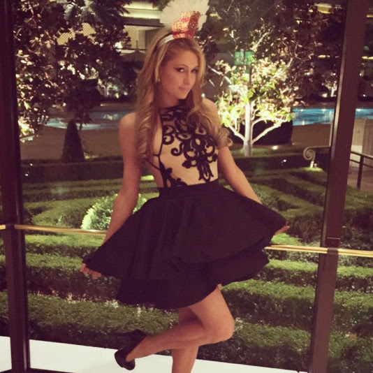 Paris Hilton wore a ruffled dress.