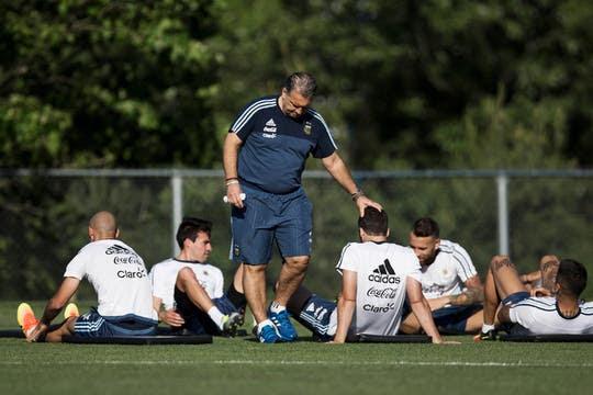 Entrenamiento de la Selección Argentina en la cancha auxiliar del Gillette Stadium. Foto: LA NACION / Aníbal Greco