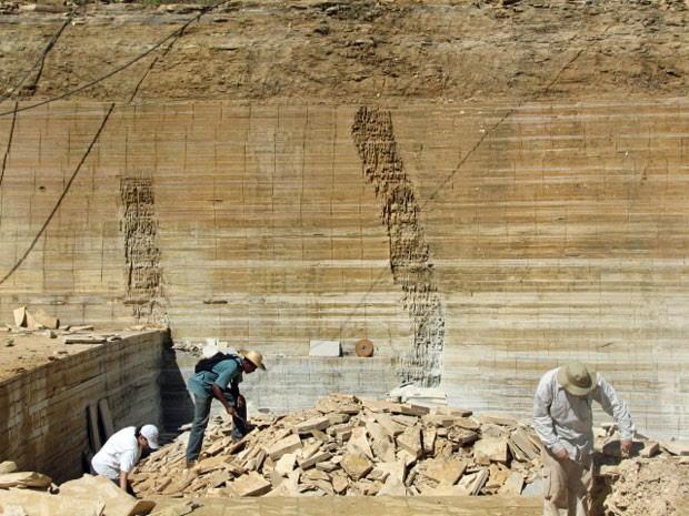 Trabalho de exploração paleontológica na Chapada do Araripe, no Ceará (Foto: Ismar Carvalho/Nature Communications)