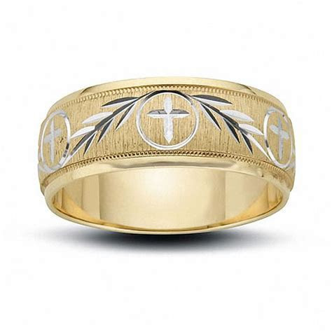 Men's 8.0mm Cross and Ivy Engraved Wedding Band in 14K