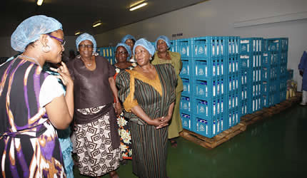 First Lady Amai Grace Mugabe speaks to Senate President Edina Madzongwe (right), Cde Elizabeth Mupfumira (centre) and other members of the Zanu-PF Women's League from Mashonaland West during a tour of Alpha Omega Dairy in Mazowe on November 22, 2012. by Pan-African News Wire File Photos