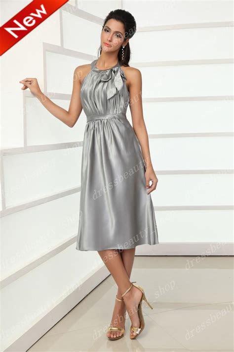 2013 Elegant Knee Length Silver Bridesmaid Dresses Short