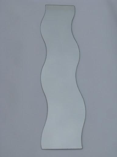 Retro Op Art Wall Hanging Mirrors Mod Frameless Wave Shape Mirror Set