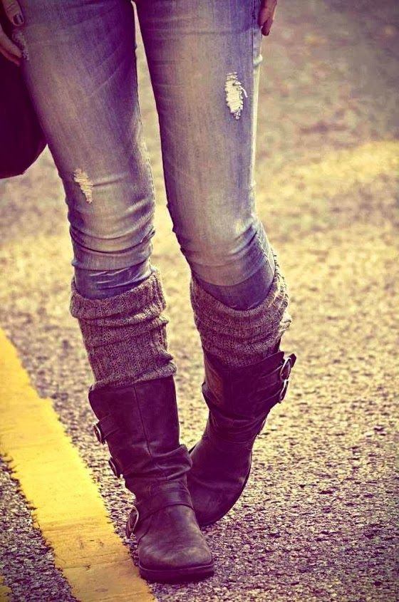 Long Leather Boots With Leg Warmers and Skinny Jeans