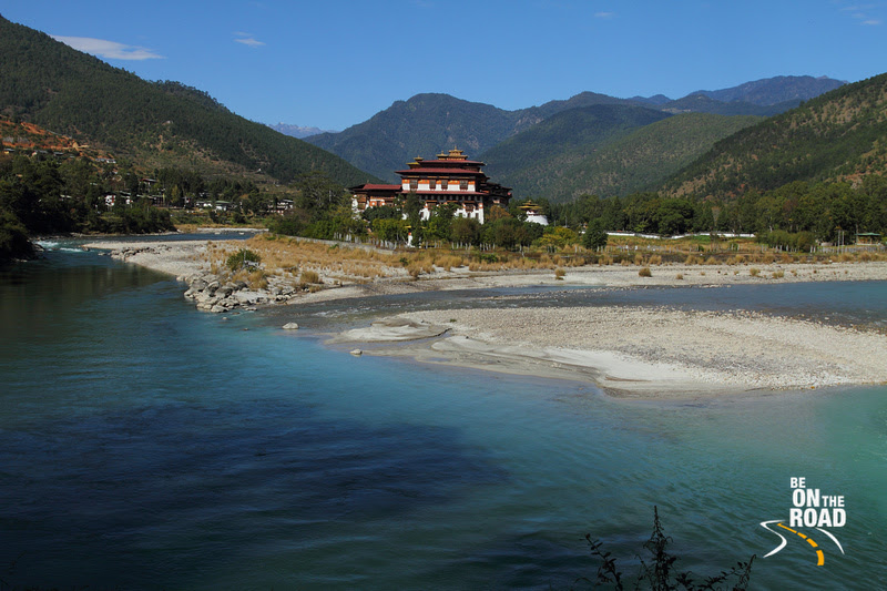 Punakha Dzong set amidst mountains and rivers