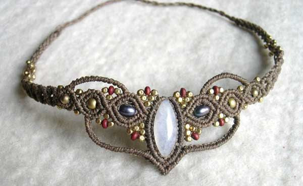 Fairy Macrame Tiara or Necklace Moonstone Choker Collier