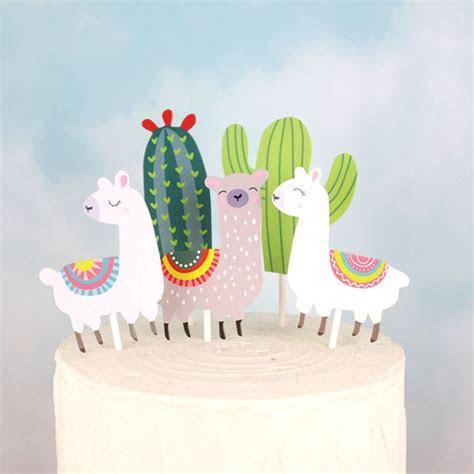 5pcs Llama Alpaca Cactus Cake Toppers Cartoon Cute Llama