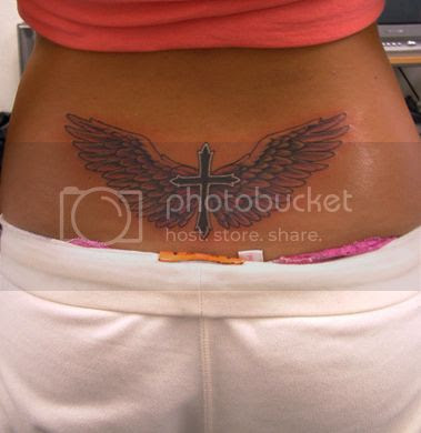 Sexy body art tattoo-Cross with Wings