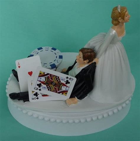 Wedding Cake Topper Poker Chips Blackjack Card Playing Player