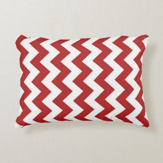 Red and White Zigzag Accent Pillow