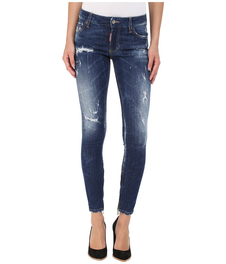 DSQUARED2 - Perfetto Wash Medium Waist Skinny Jeans in Blue (Blue) Women's Jeans