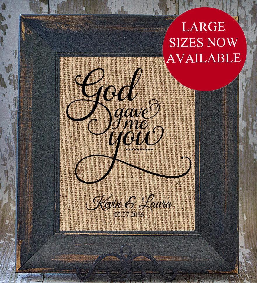 God Gave Me You Rustic Wedding Fancy Scroll Personalized Burlap Love