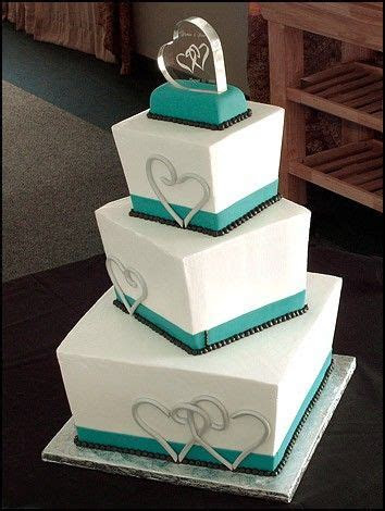 Love this cake!!! wedding cake, square, 3 tier w/ teal and