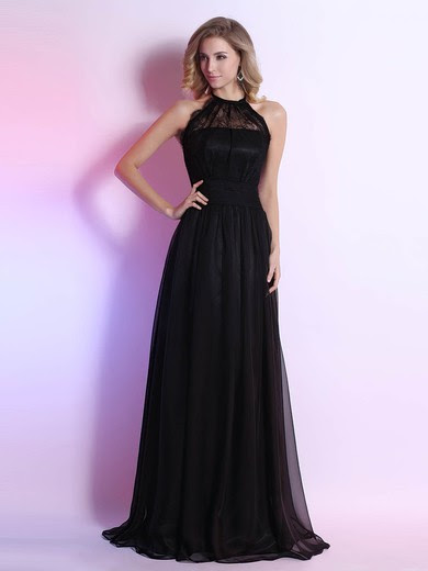 Black Halter Chiffon Lace with Sashes / Ribbons Open Back Unique Prom Dresses #UKM02023111